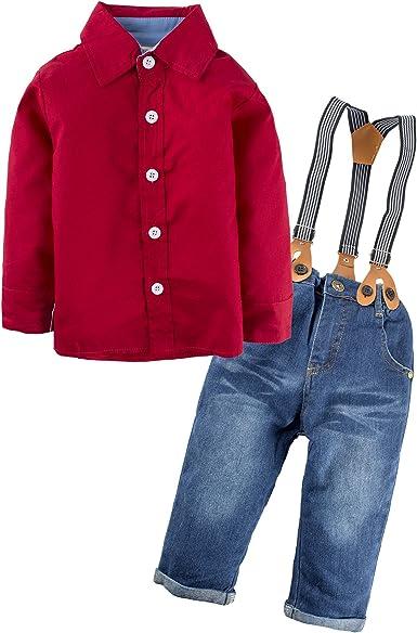 BIG ELEPHANT Pantalones de niño de 2 piezas de ropa de camisa de camisa con tirantes L81A: Amazon.es: Ropa y accesorios