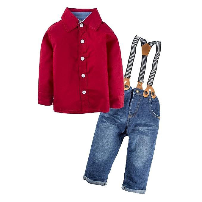 BIG ELEPHANT Pantalones de niño de 2 piezas de ropa de camisa de camisa con tirantes L81A