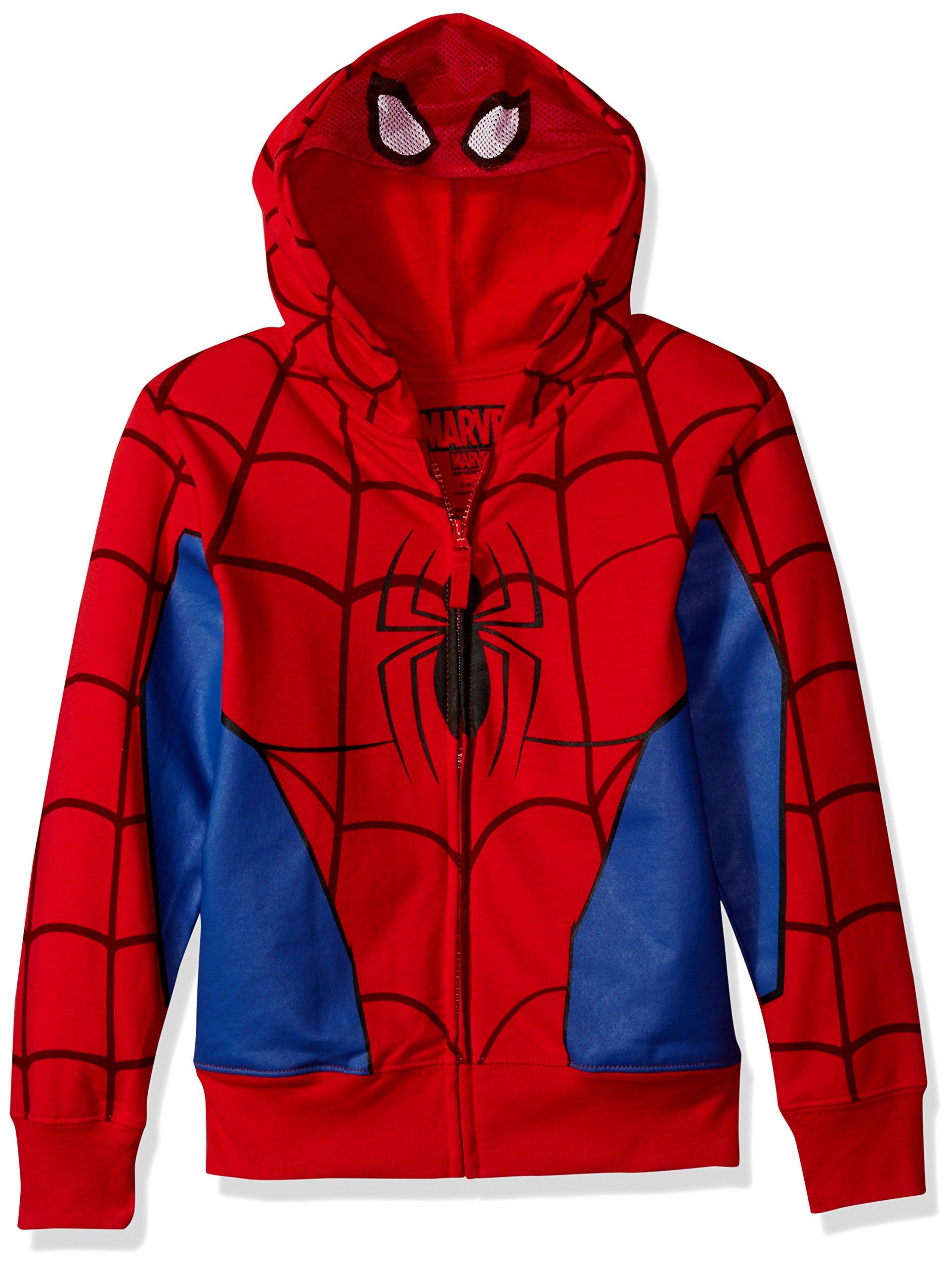 Marvel Little Boys' Spiderman Mask Costume Hoodie, Red, M-5/6