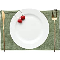 Khooti Jute Tablemats/Placemats Heat Resistant Dining Table Place Mats for Kitchen Table Party, 12 x 18 inches