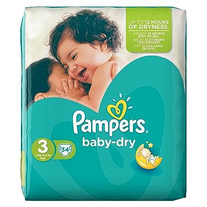 Pampers Baby-Dry - Lote de 4 paquetes de pañales de talla 3 (mediana