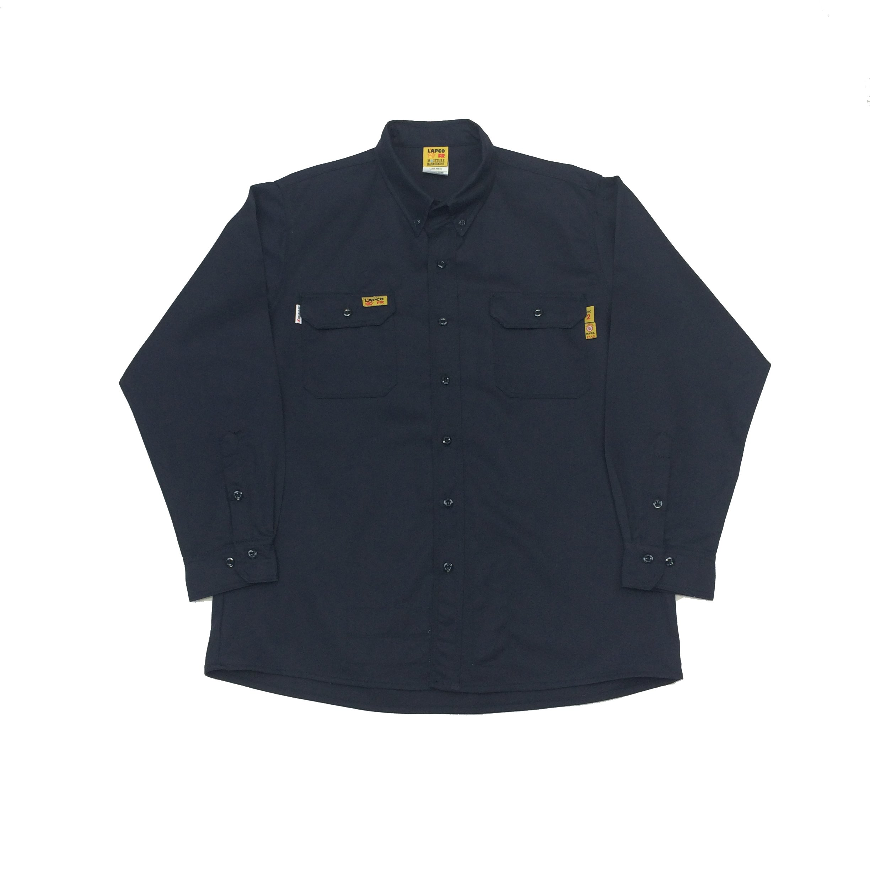 Lapco FR GOSAC7NY-MED-RE Flame Resistant Uniform Shirts, Regular, Navy