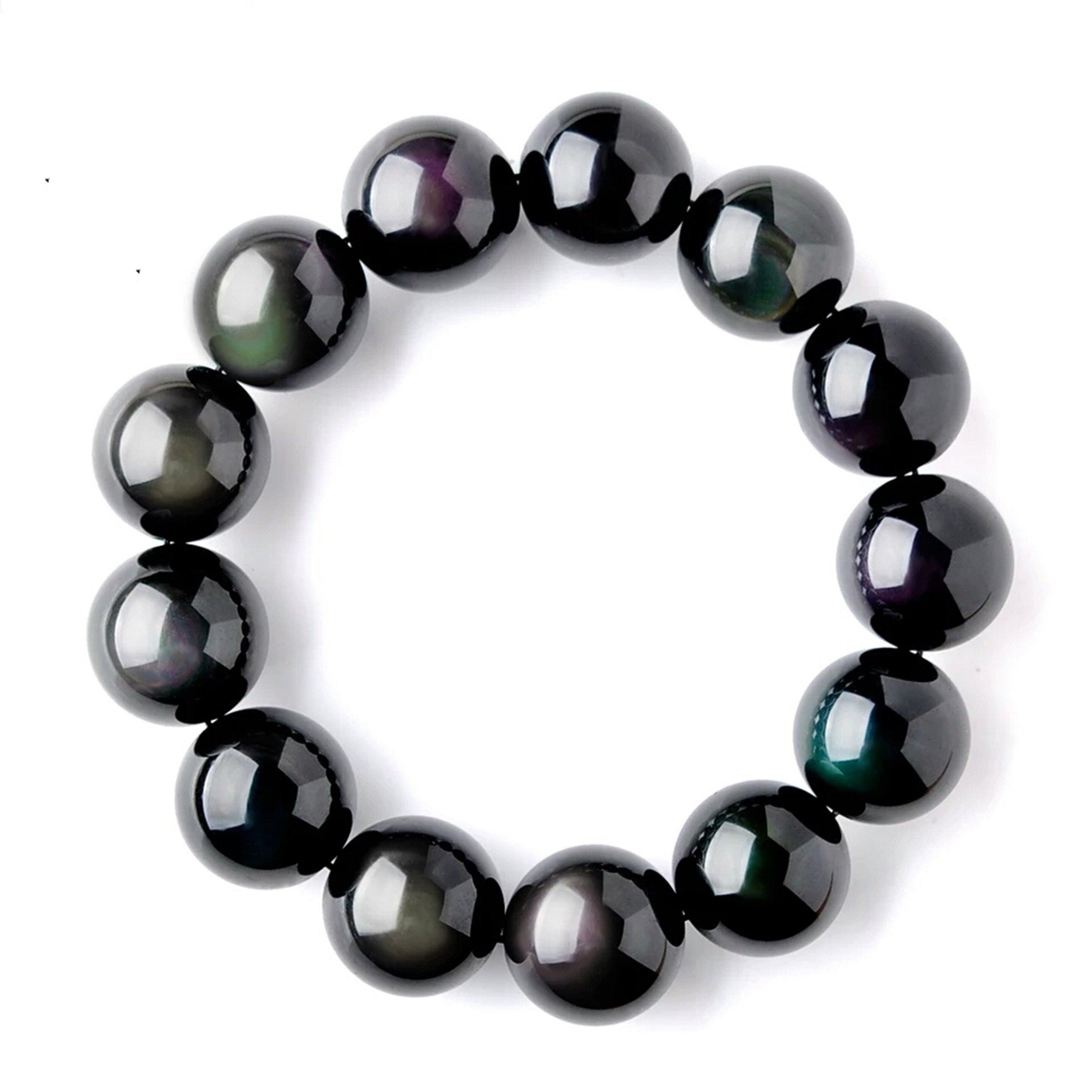 LiZiFang 18mm Genuine Colorful Natural Obsidian Gemstone Crystal Big Round Bead Bracelet AAAAA
