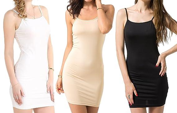 92a28e82156f3c Chifave Women s Sexy Bodycon Spaghetti Strap Cami Slip Under Mini Dress (S