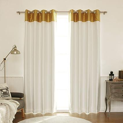 Best Home Fashion Topborder Faux Silk Blackout Curtain