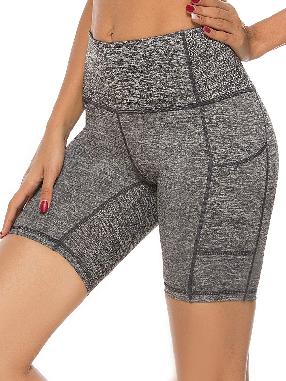 jonivey Yoga Shorts Yoga Capri Leggings High Waist Pocket Workout Running Non See-Through Cropped Yoga Pants
