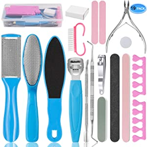 EAONE Professional Pedicure Tools Set 20 in 1, Foot Care Kit Stainless Steel Foot Rasp Foot Dead Skin Remover Pedicure Kit for Men Women