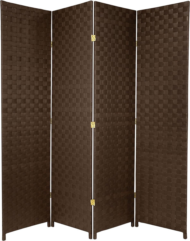 Oriental Furniture 6 ft. Tall Woven Fiber-Outdoor All Weather-Room-Divider - 4-Panel - Dark Brown