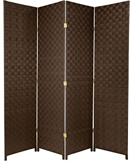 Oriental Furniture 6 Ft. Tall Woven Fiber Outdoor All Weather Room Divider    4 Panel