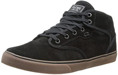 Globe Men's Motley Mid Skateboard Lifestyle Shoe,Black/Tobacco Gum,5 ...