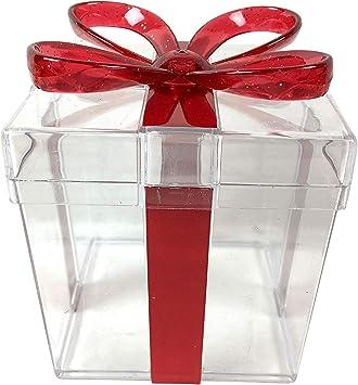 Caja de regalo de plástico transparente con plexiglás duro, Rojo ...