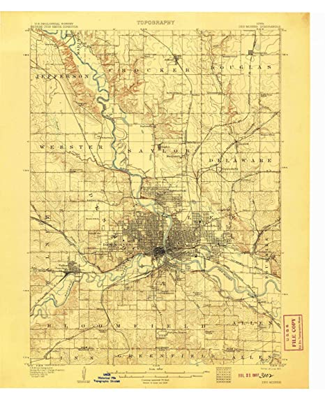 Amazon.com: YellowMaps Des Moines IA topo map, 1:62500 Scale, 15 X ...