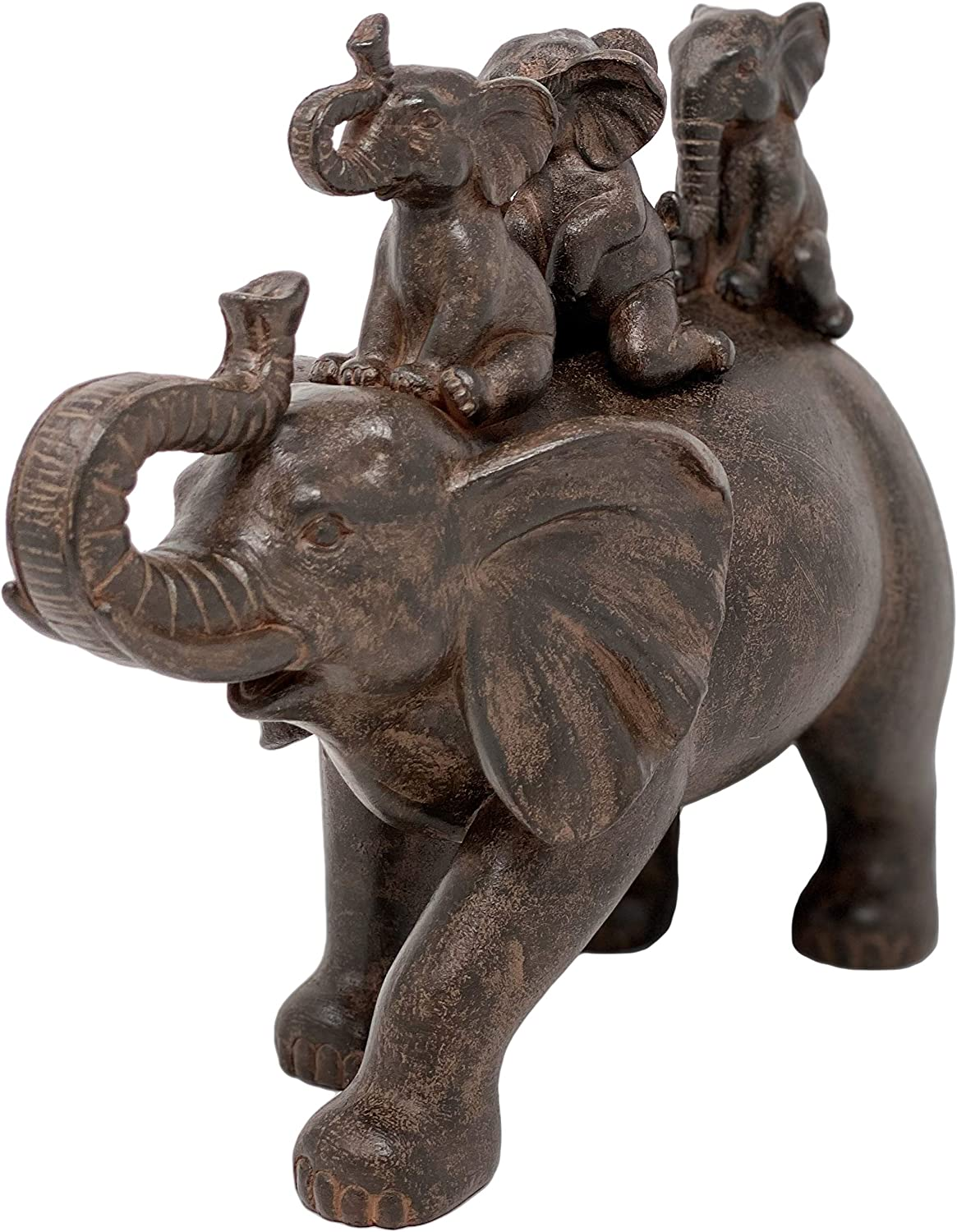 Natures Mark 8 H 3 Baby Elephants Riding an Elephant Resin Statue Figurine Home Decorative Accent Decor