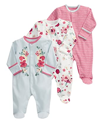 fb4ebc1ed Mamas and Papas Baby-Girls 3 Pack All-in-One Vintage Floral Bodysuit ...