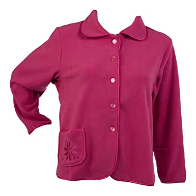 Slenderella Womens Soft Polar Fleece Button Up Bed Jacket Floral  Embroidered Pocket House Coat (Indigo or Pink)  Amazon.co.uk  Clothing 9954631cc