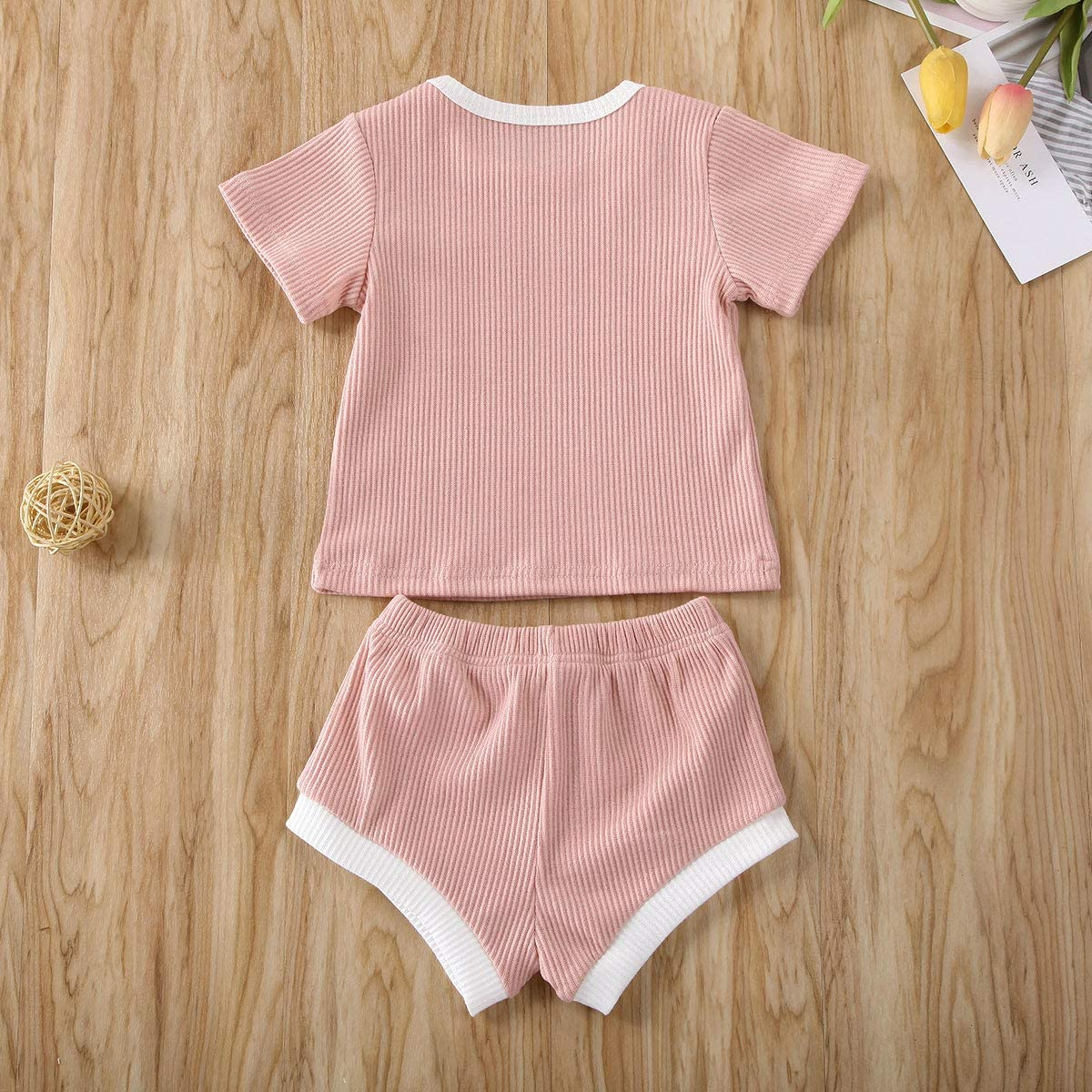 2 PCS Infant Toddler Baby Boys Girls Top Shirt+Drawstring Shorts Clothes Summer Outfits