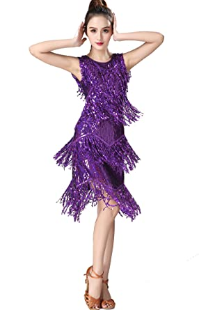 b045933e9d0 ZLTdream Ladies Latin Tango Salsa ChaCha Ballroom Dance Swing Rumba Dress  Purple