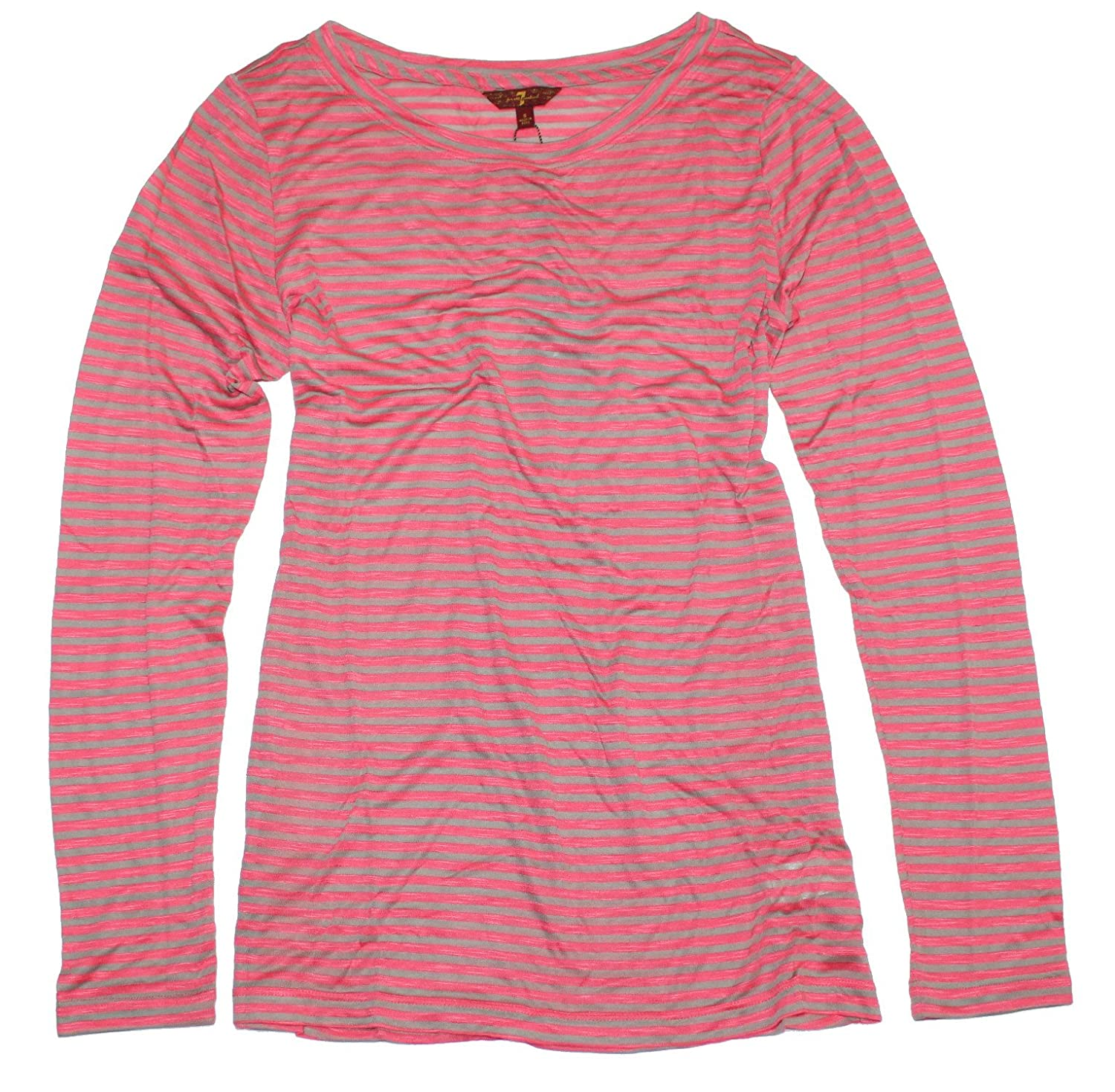7 for All Mankind Women's Long Sleeve Striped Crewneck T-shirt