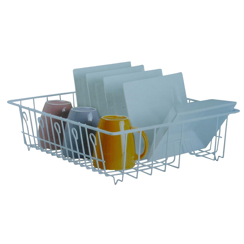 White Laminated Wire Jumbo Kitchen Sink Top Dish Drainer Rack ...