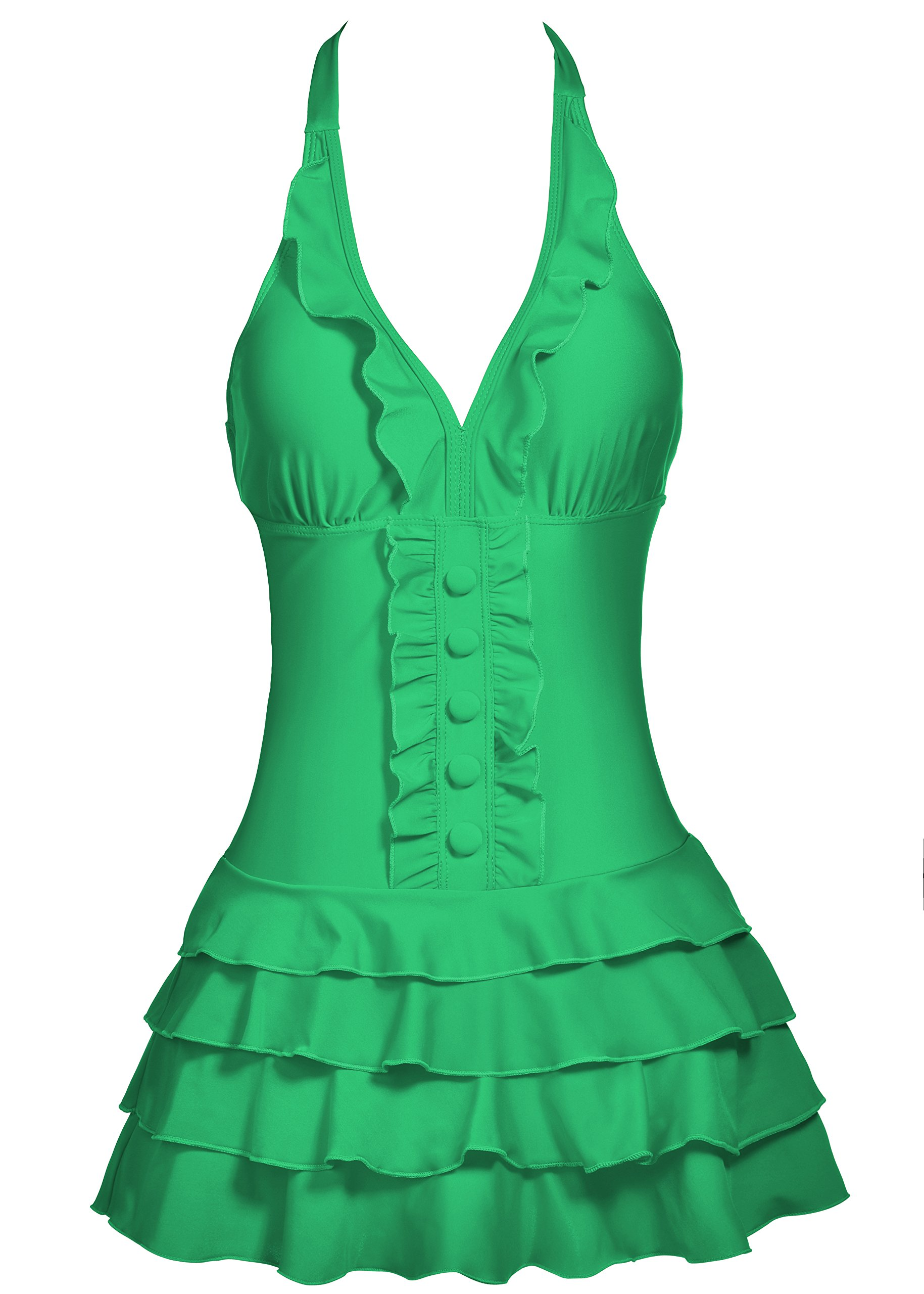 swimwear crossover tummy control top style swimdress vintage swimsuits designer swimdress deep v neck one piece high waist push up swimdress,Springgreen,XXLarge / 12 to 14