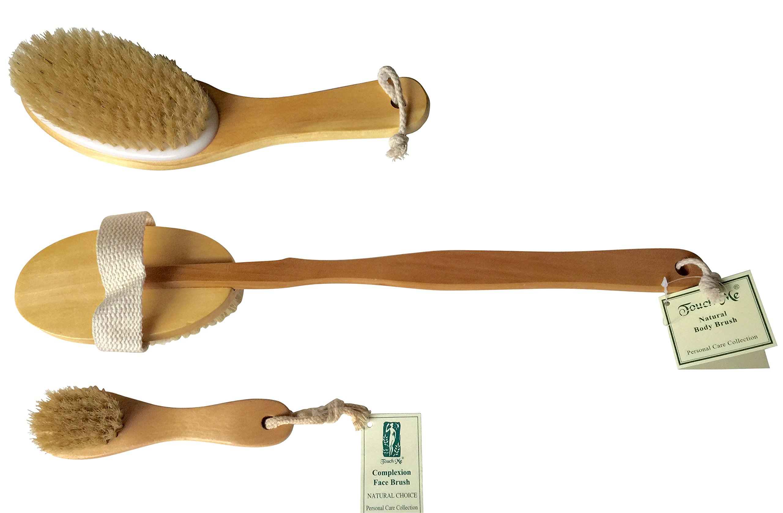 3 Brushes/Set Touch Me 100% Natural Boar Bristle detachable Long Handle Wooden Dry Bath Body Back Brush, Contour Handle Dry Body Brush and Facial Complexion Brush, Premium Quality, Perfect Spa Gift by Touch Me (Image #2)