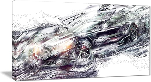 Amazon Com Digital Art Pt2602 32 16 Abstract Black Super Car Canvas Art Print 32x16 Home Kitchen