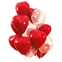Heart Shaped Balloons (Set of 10) - Red and Clear Glitters