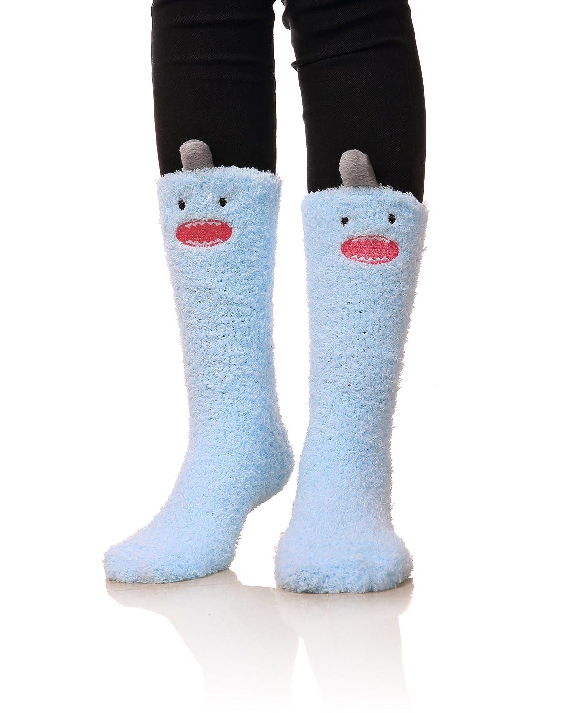 bluee Womens Soft Cute Funny Animal Designe Microfiber Slipper Socks Cozy Fuzzy Winter Warm Socks