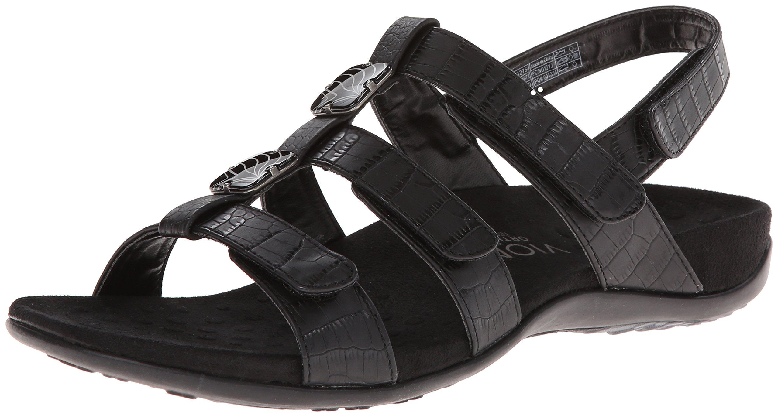 Vionic Amber - Womens Slide Sandal - Orth Black Crocodile - 9 Medium