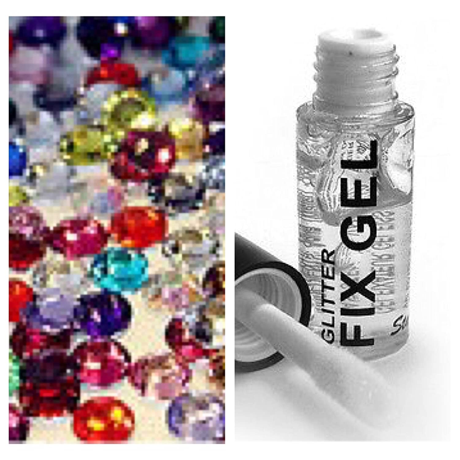 1000 Multi Coloured Crystal Rhinestones Gems Diamonte Eyes Nails Craft + Fix Glue (3mm) Just4youonlineuk