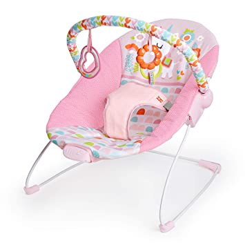 Pink Floral Minnie Mouse Baby Bouncer Girl Vibrating Swing Rocker w// Toy Bar NEW