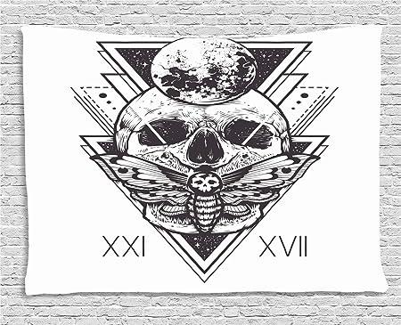 ABAKUHAUS Polilla De La Muerte Tapiz de Pared, Tatuaje del Cráneo ...