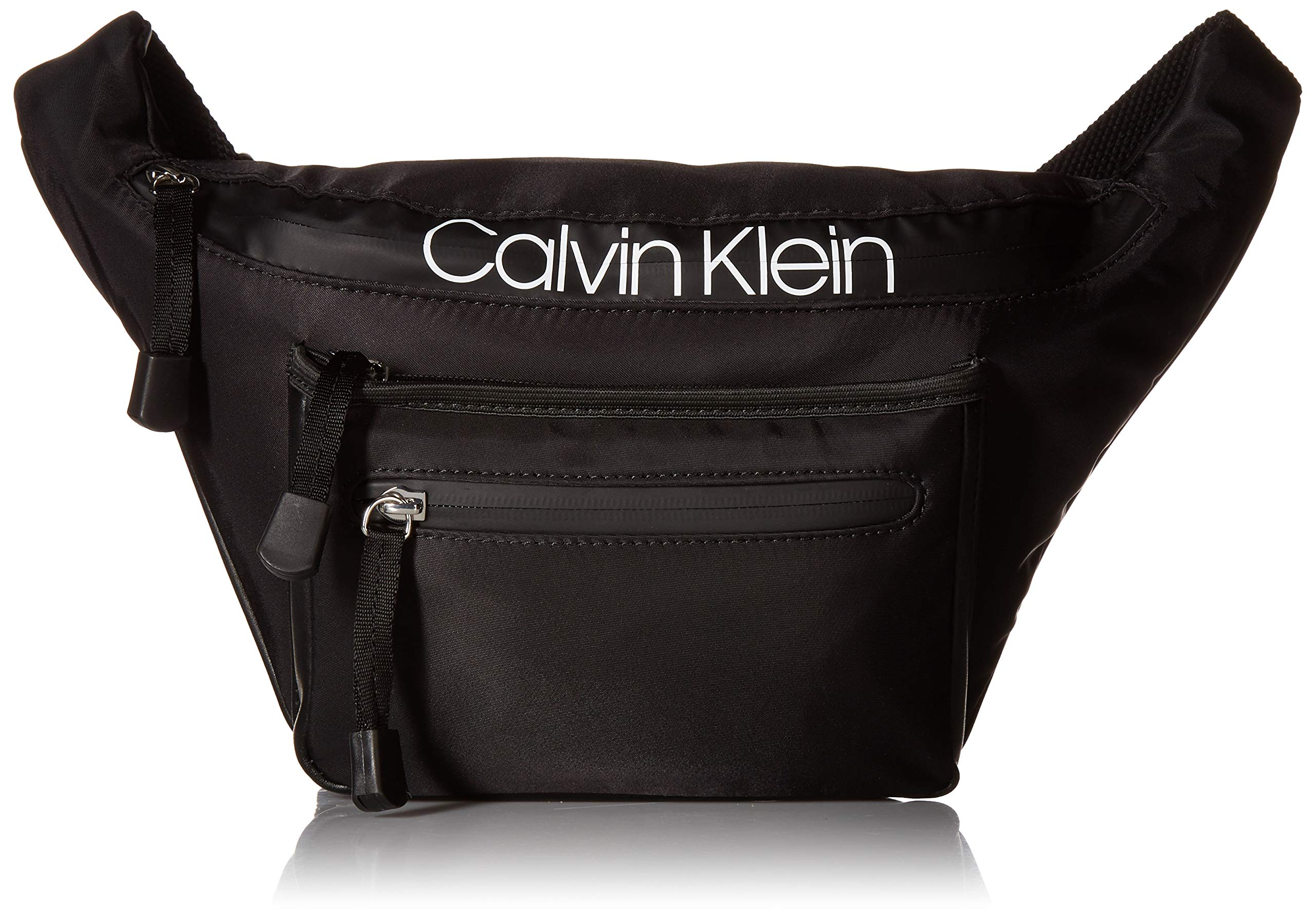 Calvin Klein Tabbie Nylon Organizational Fanny Pack,  Black/Silver, One Size