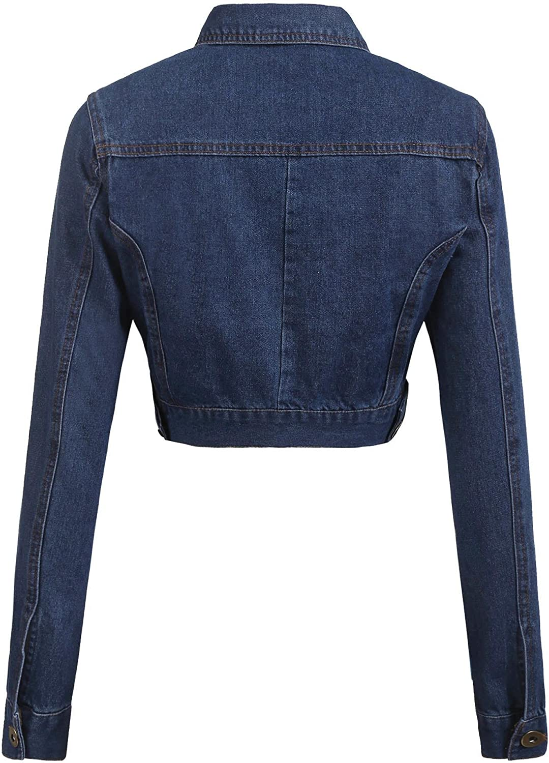 Grabsa Women/'s Button Down Long Sleeve Cropped Denim Jean Jacket with Pockets