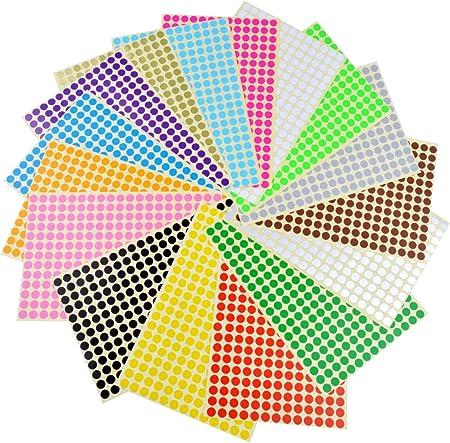 Colorati Rotonde Cerchio,32 mm Etichette Autoadesive Rotonde Etichette Adesive Colorate Etichette per Forniture per Ufficio a Casa,16 Colori Assortiti