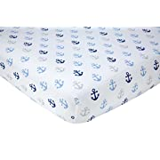 Little Love by NoJo Separates Collection Anchors Printed Crib Sheet, Navy, 52  x 28
