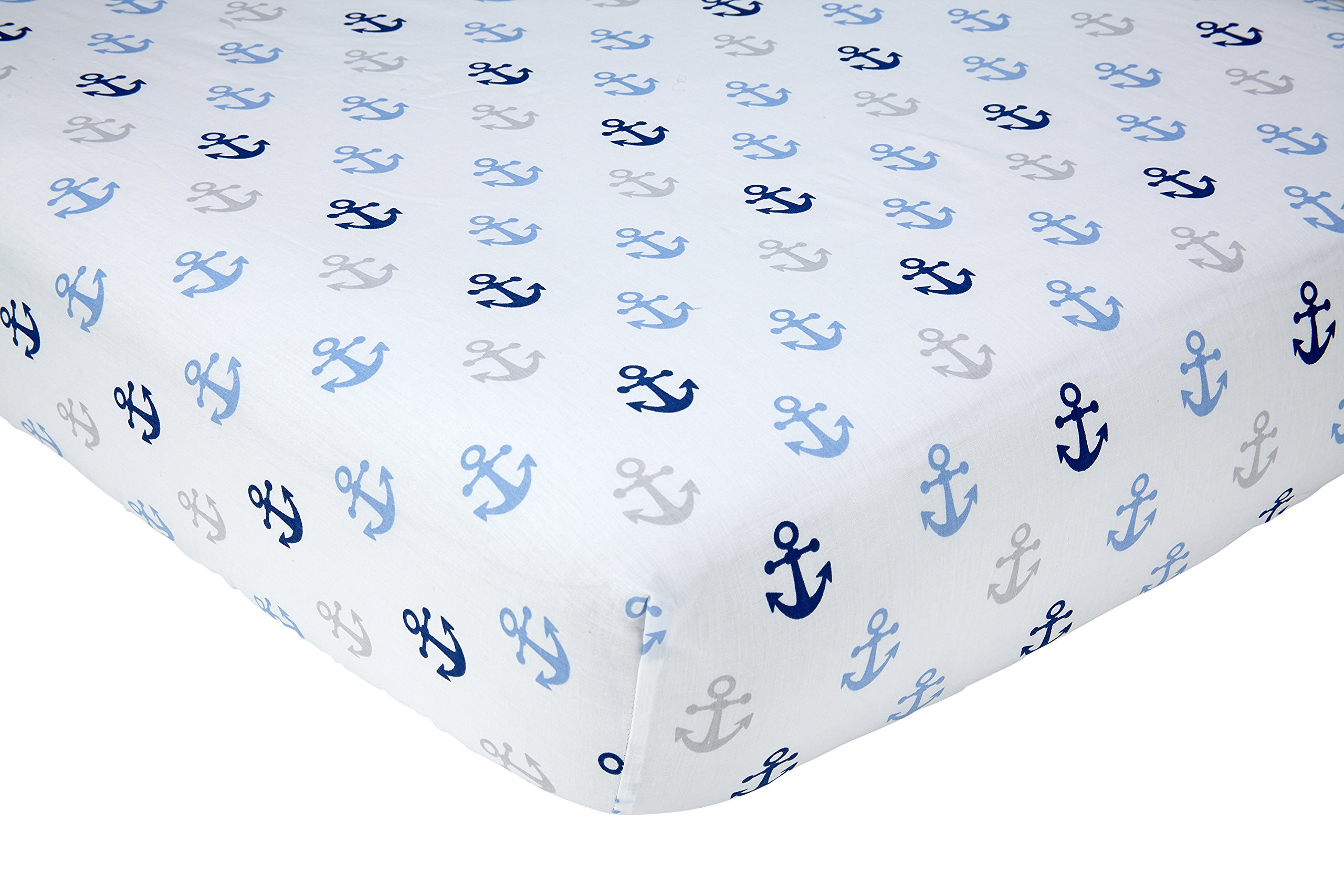 Little Love by NoJo Separates Collection Anchors Printed Crib Sheet, Navy, 52'' x 28''