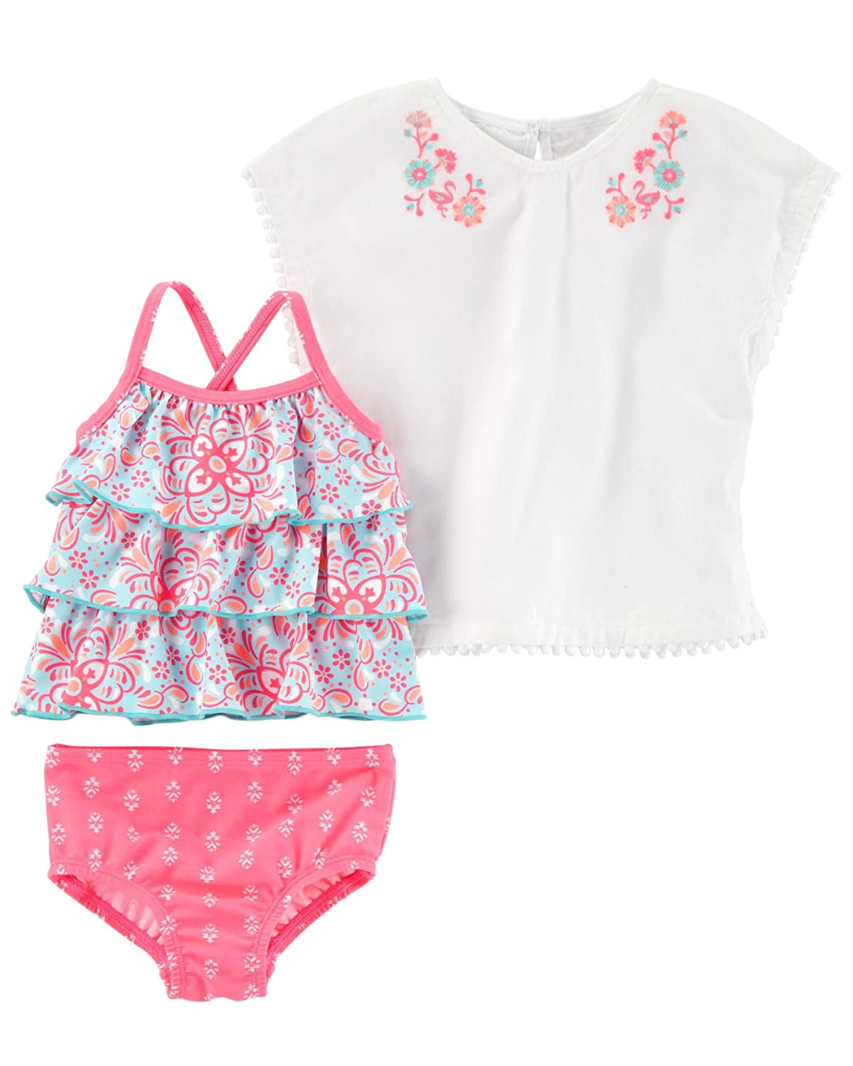Carter's Baby Girls' 3-Piece Printed Swim Set and Cover-Up Set
