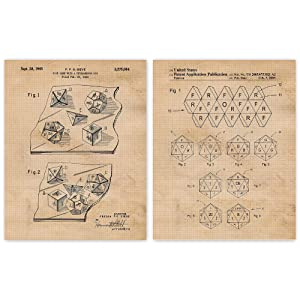 Vintage Dungeons and Dragons Dice Patent Poster Prints, Set of 2 (11x14) Unframed Photos, Wall Art Decor Gifts Under 15 for Home, Office, College Student, Teacher, Comic-Con & D&D Movies Fan