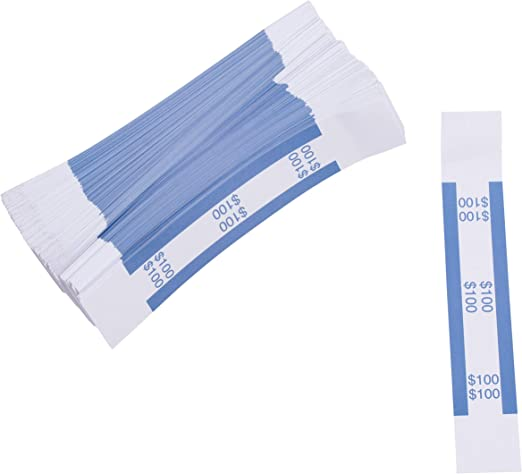 $100 SELF-SEALING CURRENCY STRAPS//BANDS 1000  BLUE