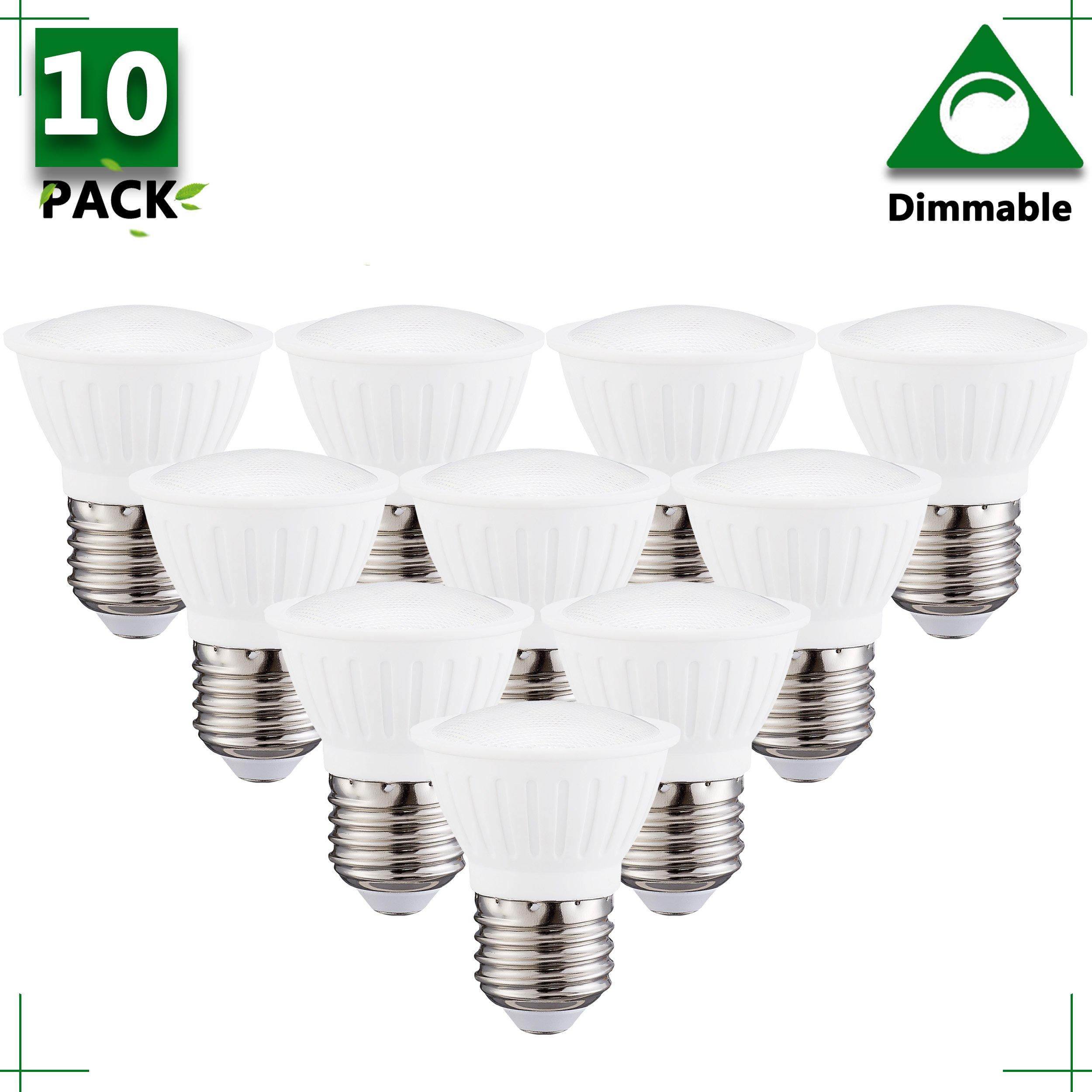 (Pack of 10) PAR16 LED Spotlight E26 Medium Base Dimmable LED Bulbs,3Watt Equivalent 25Watt Halogen Light Bulbs 120 Degree 4000K Natural White LED Flood Light Bulb,120Volt 300Lumens