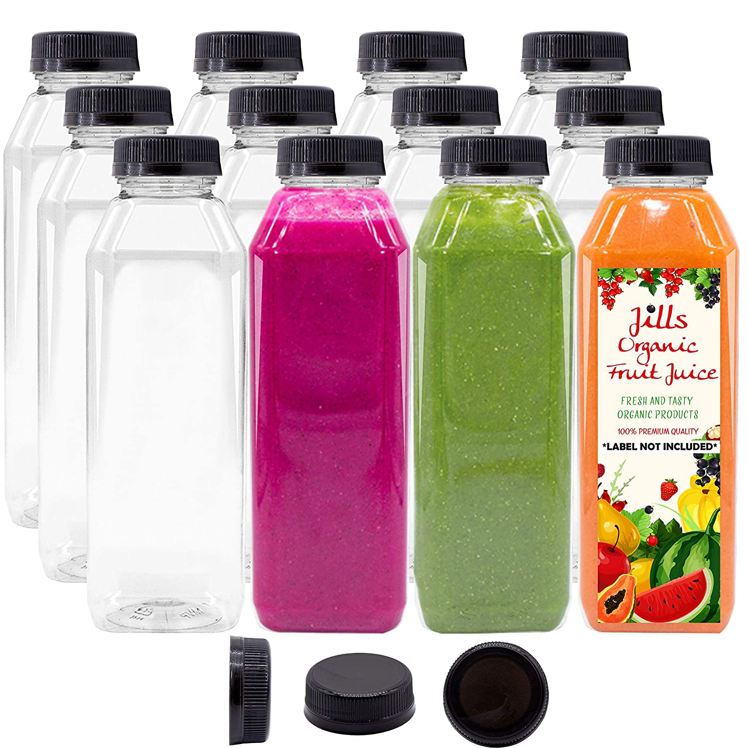 12 OZ Empty PET Plastic Juice Bottles - Pack of 12 BPA Free Reusable Clear Disposable Milk Bulk Containers with Black Tamper Evident Caps Lids
