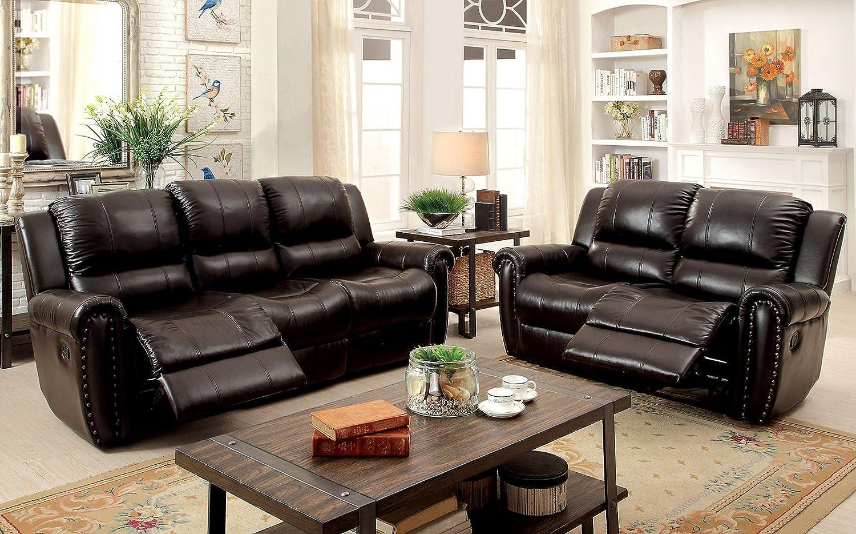 Amazon.com: Esofastore Reclining Sofa Loveseat 2pc Set Brown ...