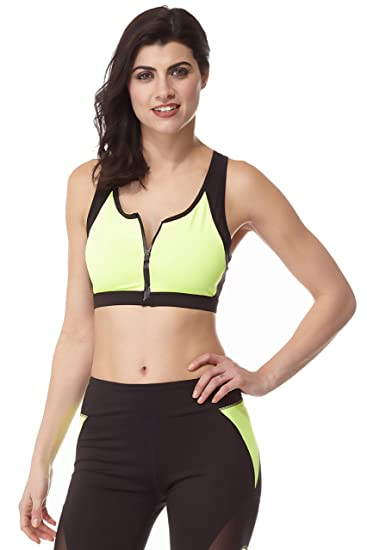 11d1b4c43ac1fb Central Park Activewear s Zip Front Sports Bra Medium Black and Neon Lime  at Amazon Women s Clothing store