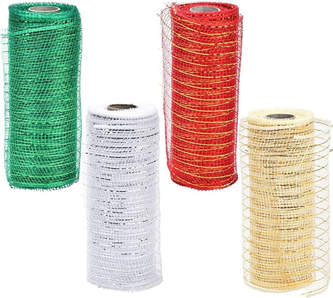 60 mm wide luxury white mesh wired Deco Mesh Ribbon Christmas Tree Garland