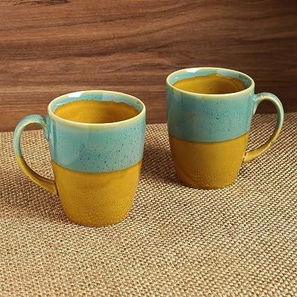 ExclusiveLane Studio Pottery Ceramic Glazed Tea Cups Set Cum Serving Coffee Mugs Set (Set of 2, Blue & Yellow)