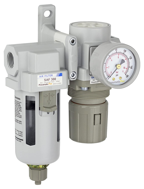 "PneumaticPlus SAU320-N03G Compressed Air Filter Regulator Combo 3/8"" NPT - Poly Bowl, Manual Drain, Bracket, Gauge"