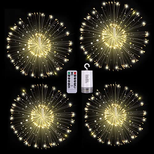 4 Pack Firework Lights, 120 Led Copper Wire Starburst Hanging Lights, 8 Modes Battery Operated Fairy Lights with Remote Control, Waterproof String Lights for Patio Wedding Christmas Decoration