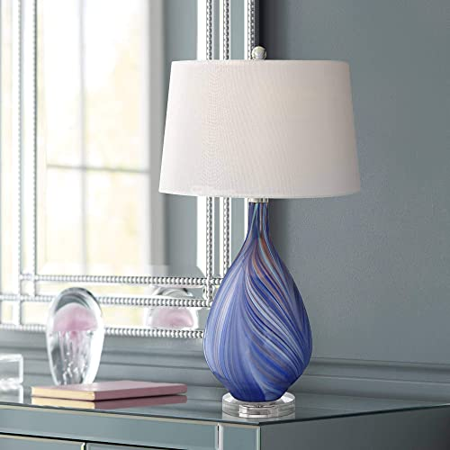 Taylor Modern Table Lamp Teardrop Blue Swirl Art Glass Tapered Drum Shade for Living Room Bedroom Bedside Nightstand Office Family – Possini Euro Design