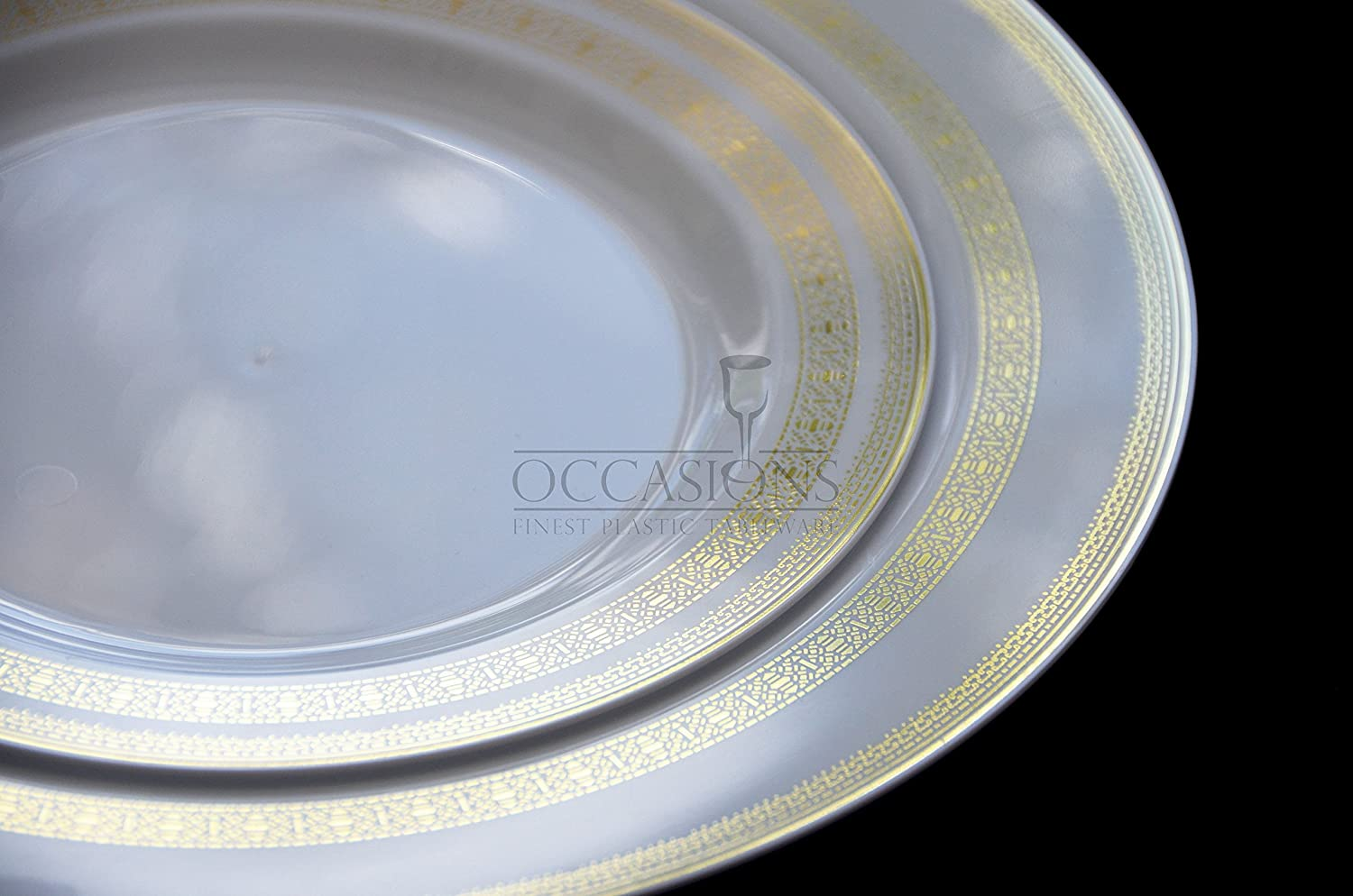 Amazon.com \ OCCASIONS\  Lace Collection-White/gold Disposable Plastic Plates (120 pieces 10.5\u0027\u0027 dinner plate) Kitchen \u0026 Dining & Amazon.com: \